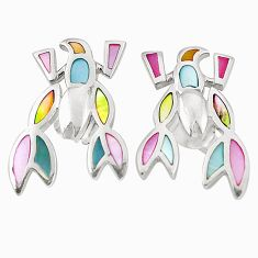 Multi color blister pearl enamel 925 silver scorpion earrings a75873