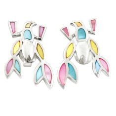 Multi color blister pearl enamel 925 silver scorpion earrings a75888