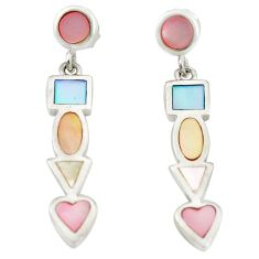 Multi color blister pearl enamel 925 sterling silver dangle earrings a75890
