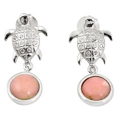 Natural pink opal topaz 925 sterling silver tortoise earrings a76230