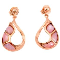 Natural pink opal 925 sterling silver 14k gold earrings jewelry a76454