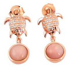 925 silver natural pink opal topaz 14k gold tortoise earrings jewelry a76455