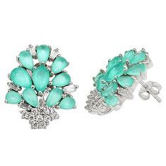 925 sterling silver natural aqua chalcedony white topaz stud earrings a76897