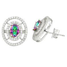Multi color rainbow topaz topaz 925 sterling silver stud earrings a77096