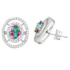 925 sterling silver multi color rainbow topaz white topaz stud earrings a77097