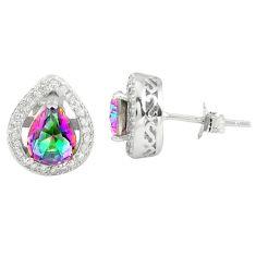 Multi color rainbow topaz topaz 925 sterling silver stud earrings a77112