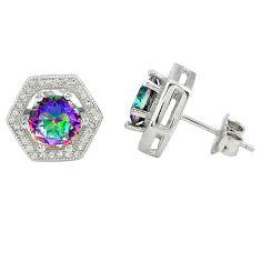 Multi color rainbow topaz topaz 925 sterling silver stud earrings a77154