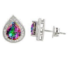 Multi color rainbow topaz topaz 925 sterling silver stud earrings a77314