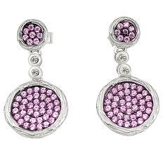 Pink topaz quartz topaz 925 sterling silver dangle earrings a78097