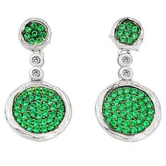 Green emerald quartz topaz 925 sterling silver dangle earrings a78107