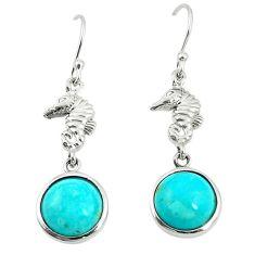 Southwestern fine blue turquoise 925 silver dangle earrings a78499