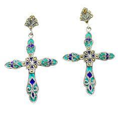 Fine marcasite enamel 925 sterling silver holy cross earrings jewelry a79406