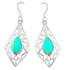 Fine green turquoise enamel 925 sterling silver dangle earrings a79809