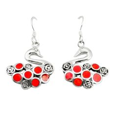 Red coral enamel 925 sterling silver dangle earrings jewelry a79812