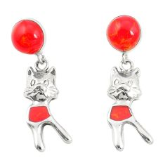 Red coral 925 sterling silver dangle earrings jewelry a79819