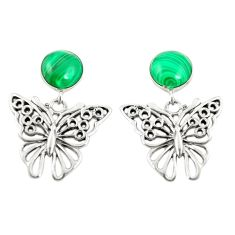 Natural green malachite (pilot's stone) 925 silver butterfly earrings a79858