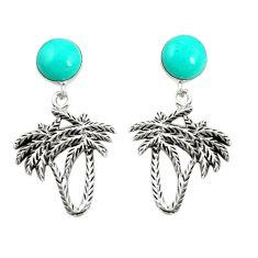 Fine green turquoise 925 sterling silver dangle palm tree earrings a79895