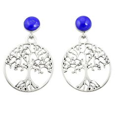 Natural blue lapis lazuli 925 silver tree of life earrings jewelry a79899