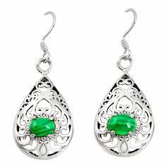 Natural green malachite (pilot's stone) 925 silver dangle earrings a79913