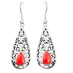 Red coral enamel 925 sterling silver dangle earrings jewelry a79927