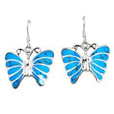 Fine blue turquoise enamel 925 sterling silver butterfly earrings a79946