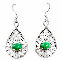 Natural green malachite (pilot's stone) 925 silver dangle earrings a79953