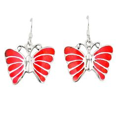 Red coral enamel 925 sterling silver butterfly earrings jewelry a79961