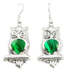 Green malachite (pilot's stone) 925 silver owl earrings jewelry a79963