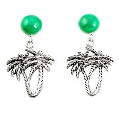 Natural green malachite (pilot's stone) 925 silver dangle earrings a79977