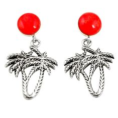 Red coral 925 sterling silver dangle palm tree earrings jewelry a79996