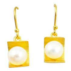 Natural white pearl 925 sterling silver 14k gold dangle earrings a80287