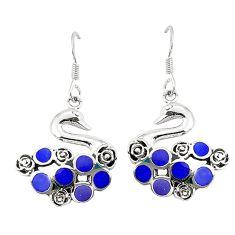 Blue lapis lazuli enamel 925 silver dangle earrings jewelry a83483