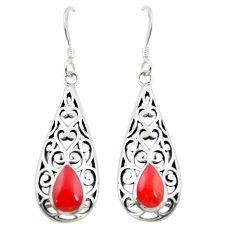 Red coral enamel 925 sterling silver dangle earrings jewelry a83485
