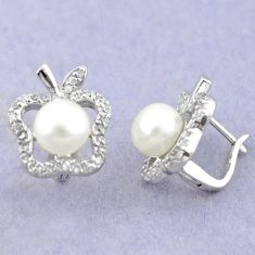 925 sterling silver natural white pearl topaz stud earrings jewelry a83618