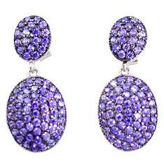 Purple amethyst quartz 925 sterling silver dangle earrings a85134
