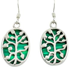 Natural green malachite (pilot's stone) 925 silver tree of life earrings a85470