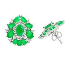 Natural green chalcedony topaz 925 sterling silver stud earrings a85582