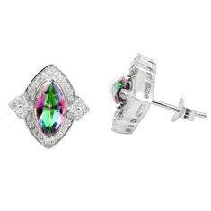 925 sterling silver multi color rainbow topaz white topaz stud earrings a85886