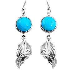 Southwestern arizona mohave turquoise 925 silver deltoid leaf earrings a86031