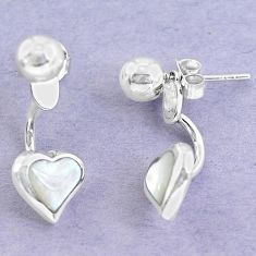 White blister pearl enamel 925 sterling silver dangle heart earrings a86155