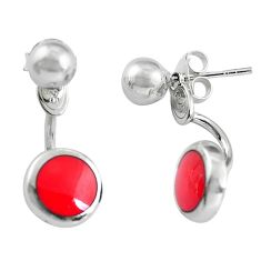 Red coral enamel 925 sterling silver dangle earrings jewelry a86157