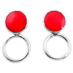 Red coral enamel 925 sterling silver dangle earrings jewelry a86262