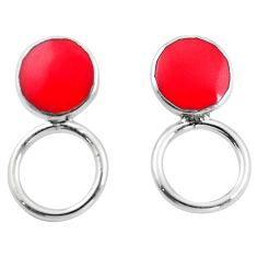 Red coral enamel 925 sterling silver dangle earrings jewelry a86297