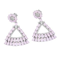 Pink chalcedony white topaz 925 sterling silver earrings jewelry a86367