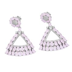 Pink chalcedony white topaz 925 sterling silver earrings jewelry a86368