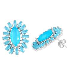 Blue chalcedony 925 sterling silver stud earrings jewelry a86384