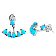 Blue sleeping beauty turquoise 925 silver dangle earrings jewelry a86770