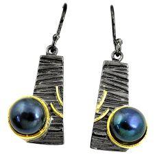 11.22cts natural titanium pearl rhodium 925 silver 14k gold earrings a87142