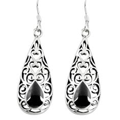 4.02gms black onyx enamel 925 sterling silver dangle earrings jewelry a88250