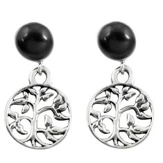 4.34cts black onyx enamel 925 silver tree of life earrings jewelry a88260